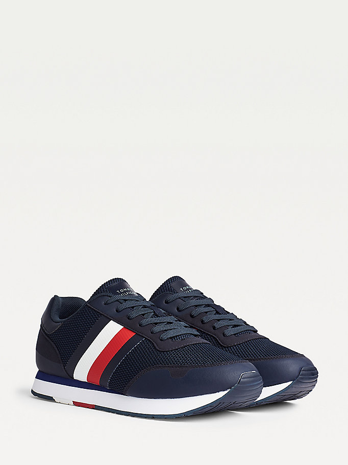 blue signature colour-blocked mixed texture panel trainers for men tommy hilfiger