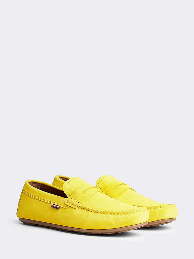 yellow suede cutout drivers for men tommy hilfiger