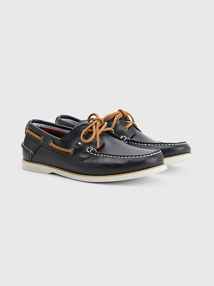 blue leather boat shoes for men tommy hilfiger