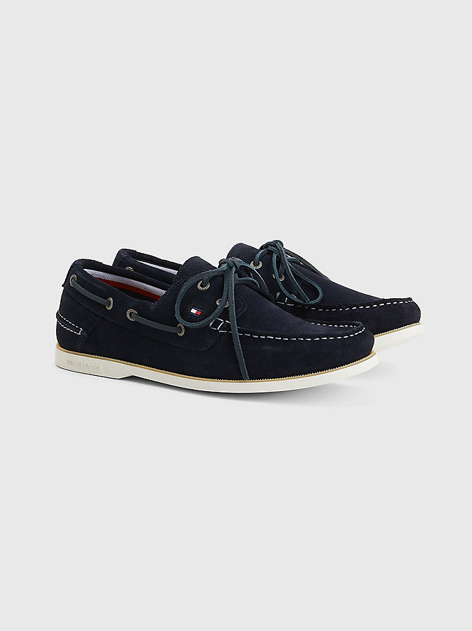 blue suede boat shoes for men tommy hilfiger