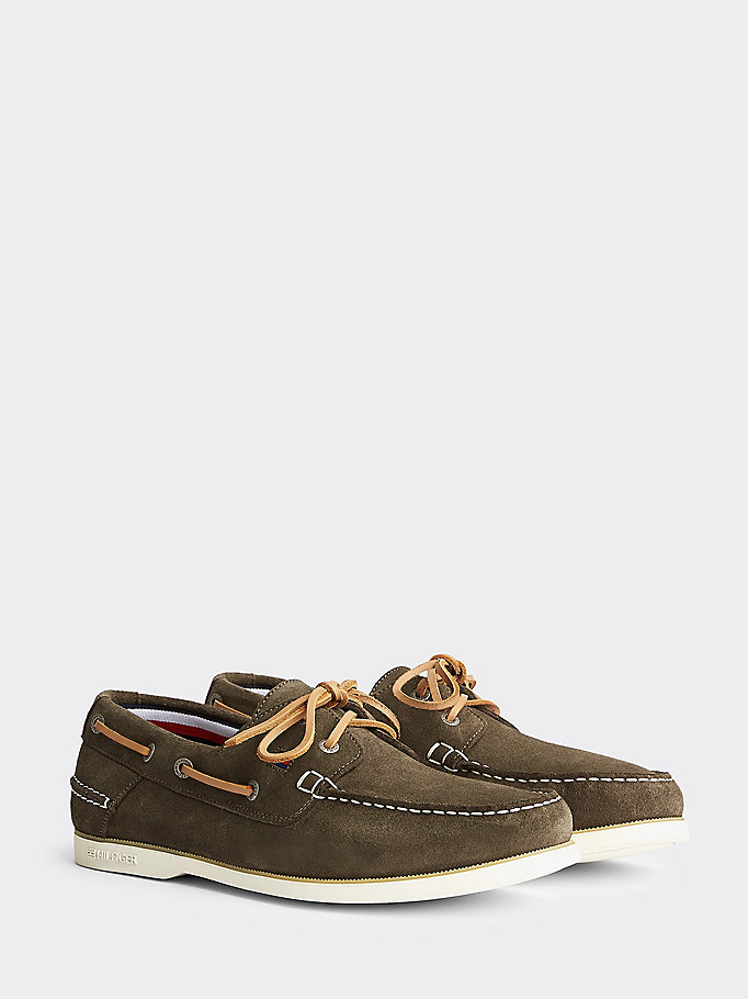 khaki suede boat shoes for men tommy hilfiger