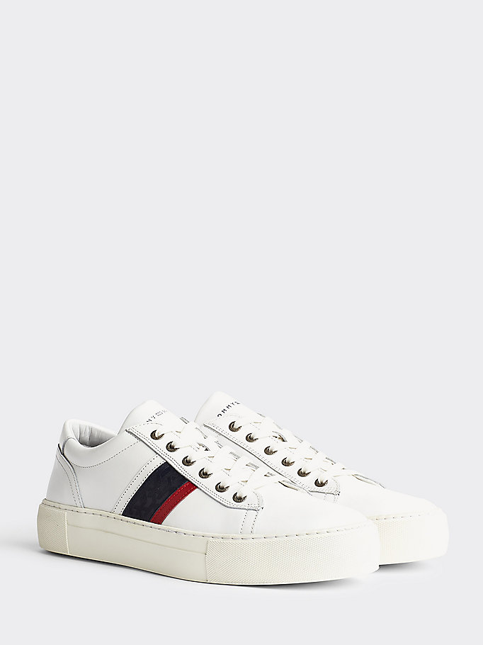 wit th fashion leren cupsole sneaker voor men - tommy hilfiger