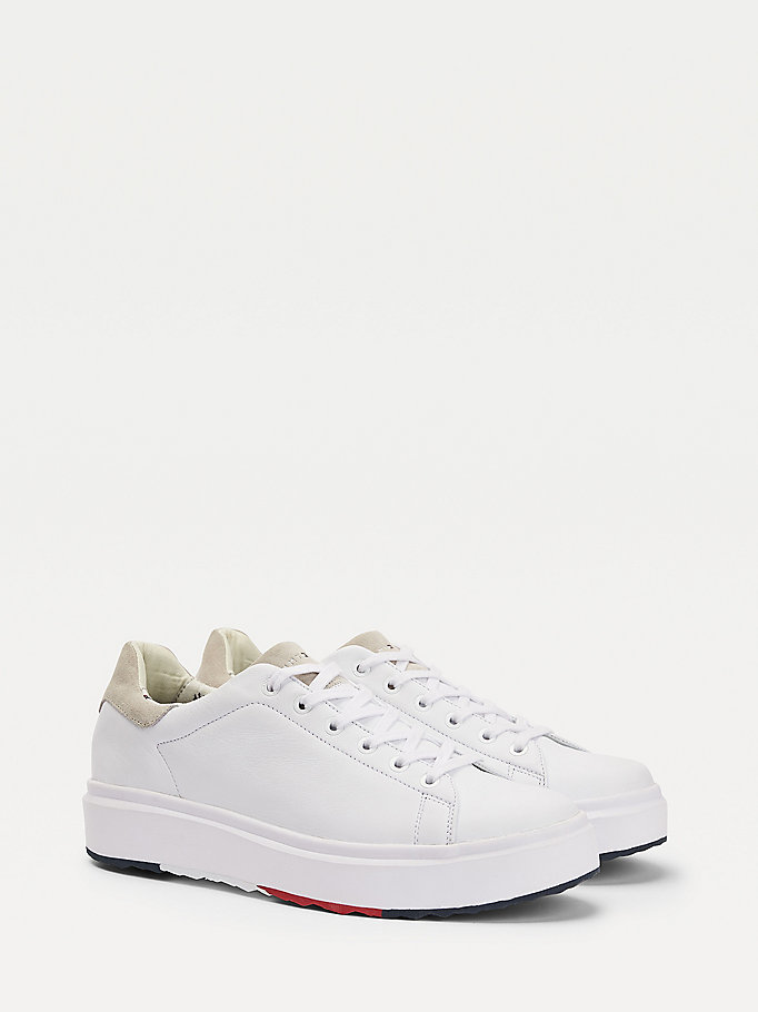 white signature sole leather mix trainers for men tommy hilfiger