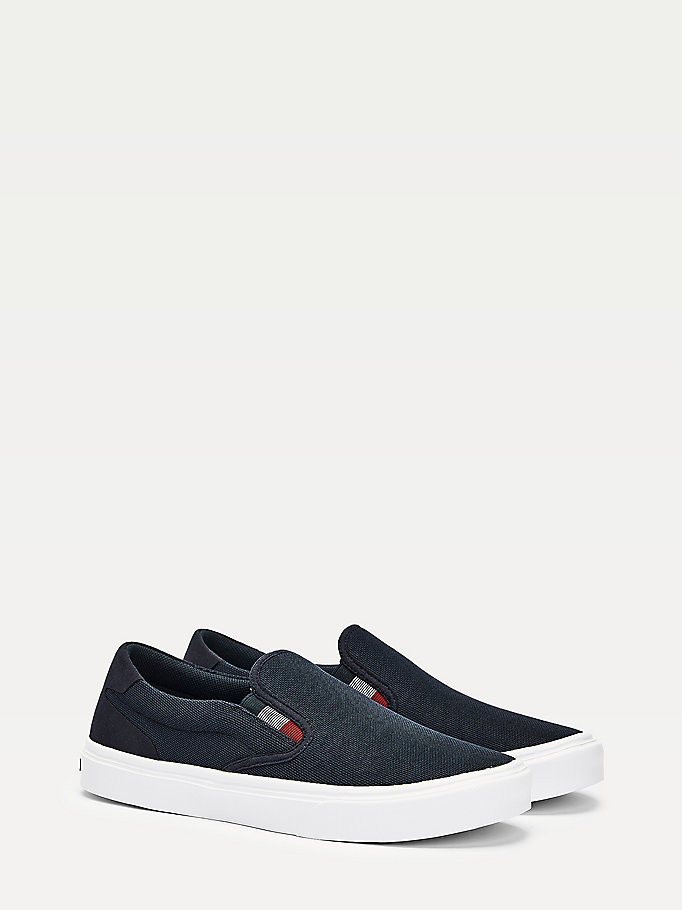 blue lightweight knit slip-on trainers for men tommy hilfiger