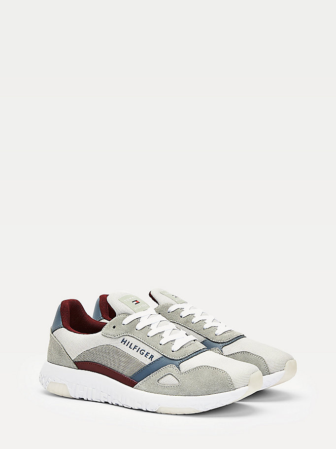 grey mixed texture running trainers for men tommy hilfiger