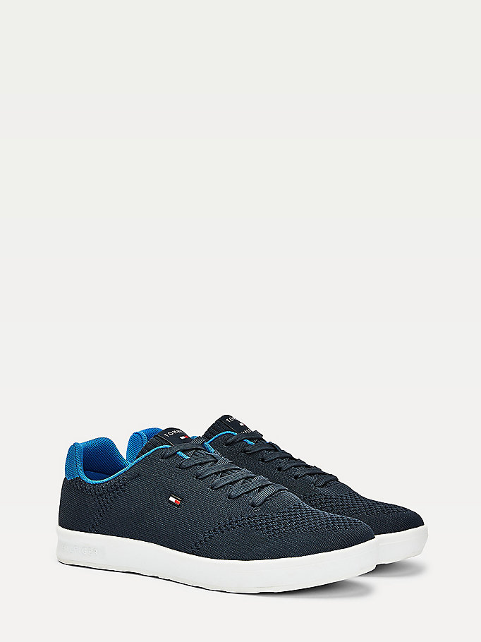 blue lightweight knit cupsole trainers for men tommy hilfiger