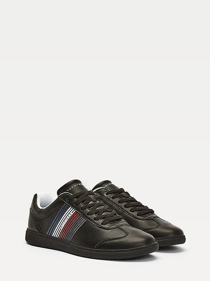 black essentials leather low-top trainers for men tommy hilfiger