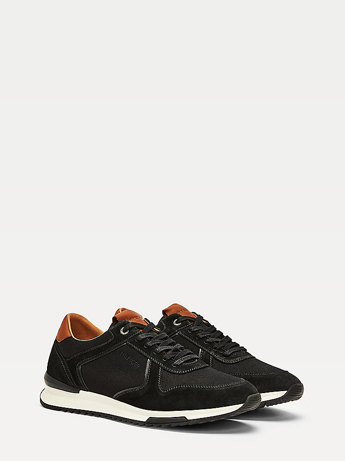 black suede mixed panel running trainers for men tommy hilfiger