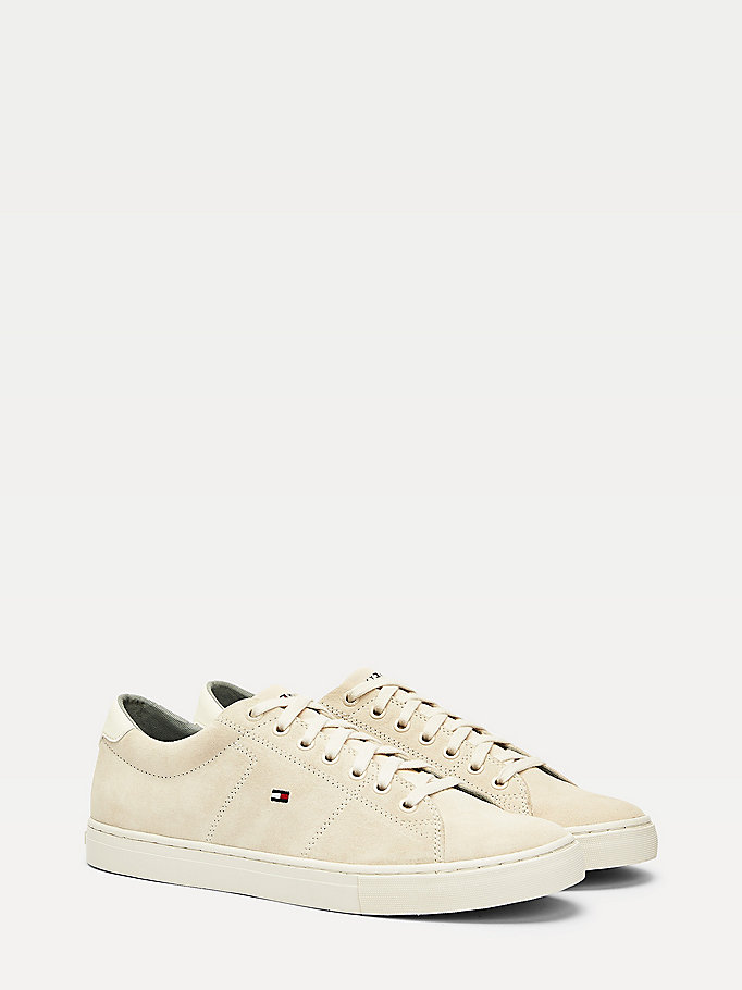 beige signature suede low-top trainers for men tommy hilfiger