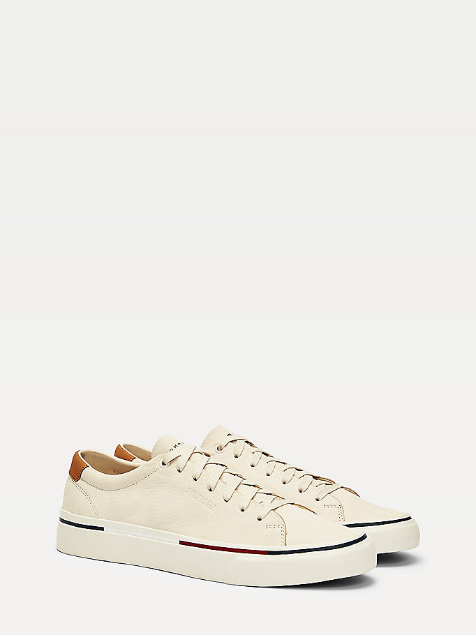 beige signature nubuck leather trainers for men tommy hilfiger