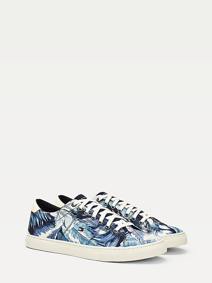 blue floral palm print trainers for men tommy hilfiger