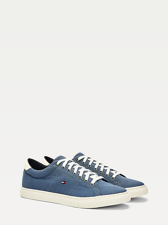 grey textile low-top trainers for men tommy hilfiger