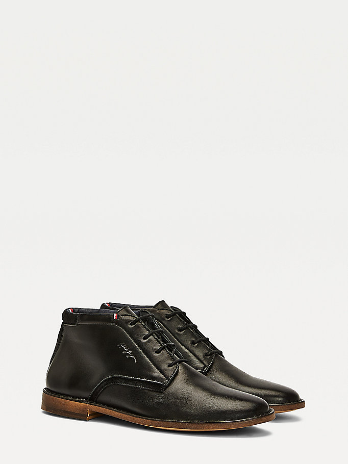 black dress casual leather lace-up boots for men tommy hilfiger
