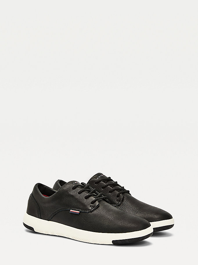 black th city lightweight leather trainer shoes for men tommy hilfiger