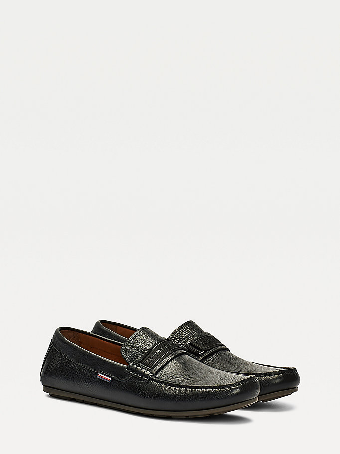 black leather driving shoes for men tommy hilfiger