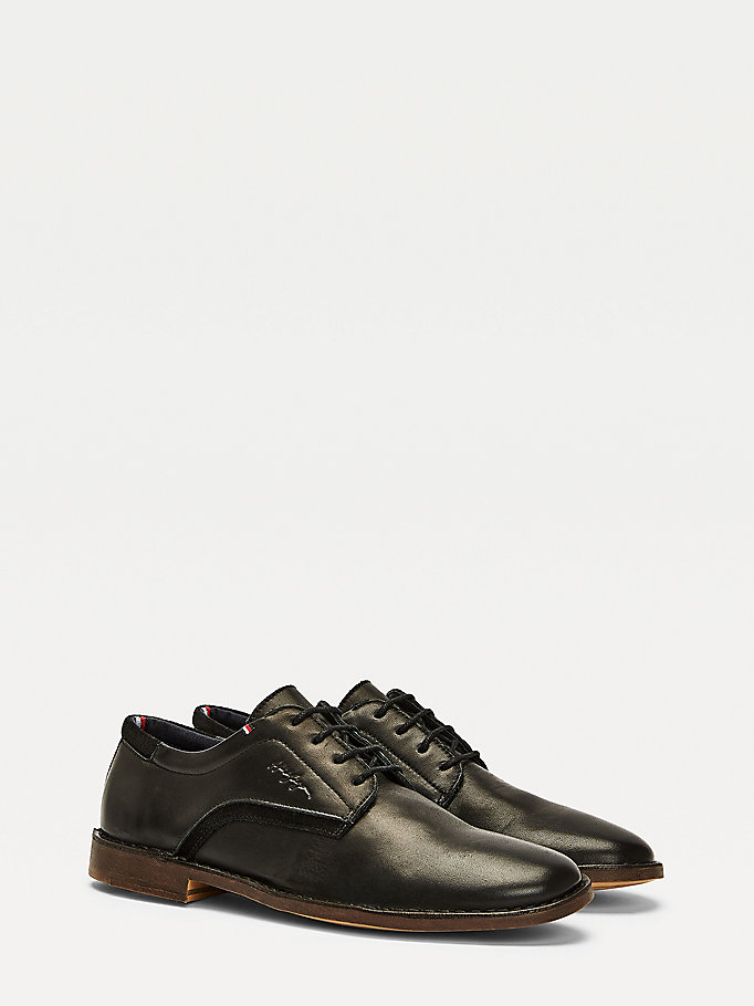 black leather and suede lace-up shoes for men tommy hilfiger