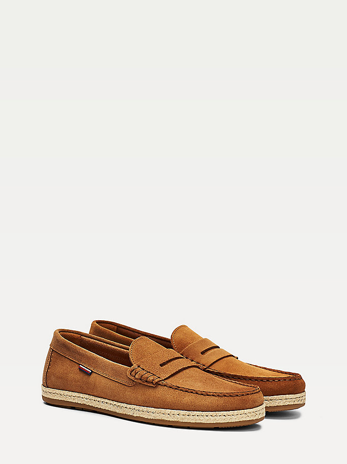 Suede Espadrille Driving Loafers Brown Tommy Hilfiger