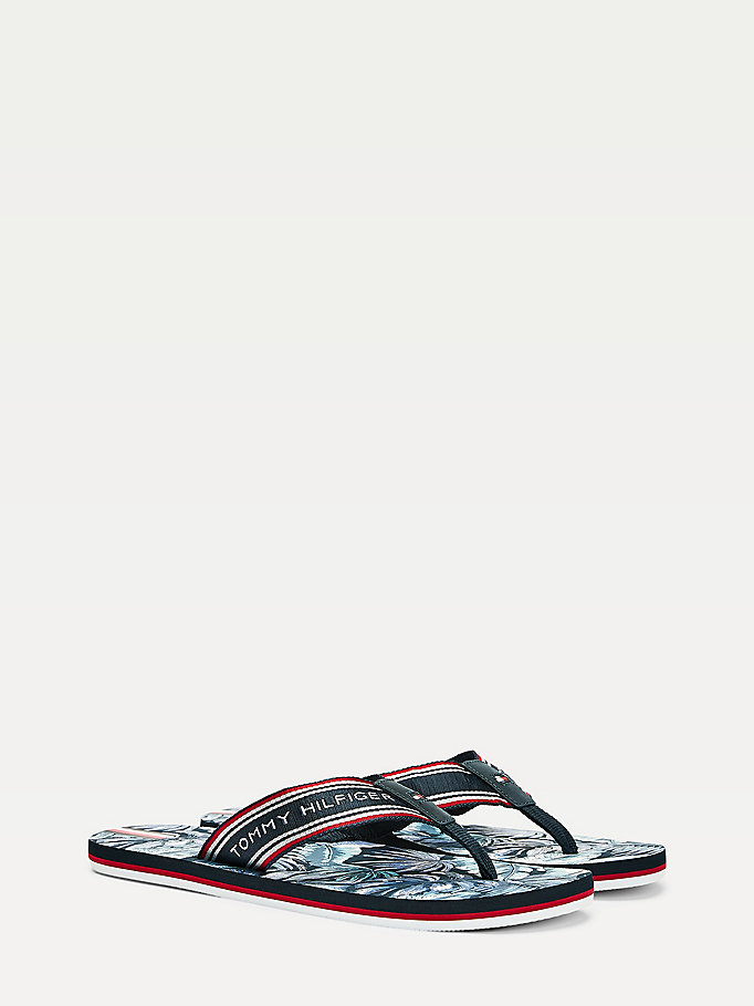 blue palm print webbing flip-flops for men tommy hilfiger