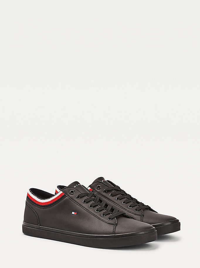 black essential vulcanised leather trainers for men tommy hilfiger