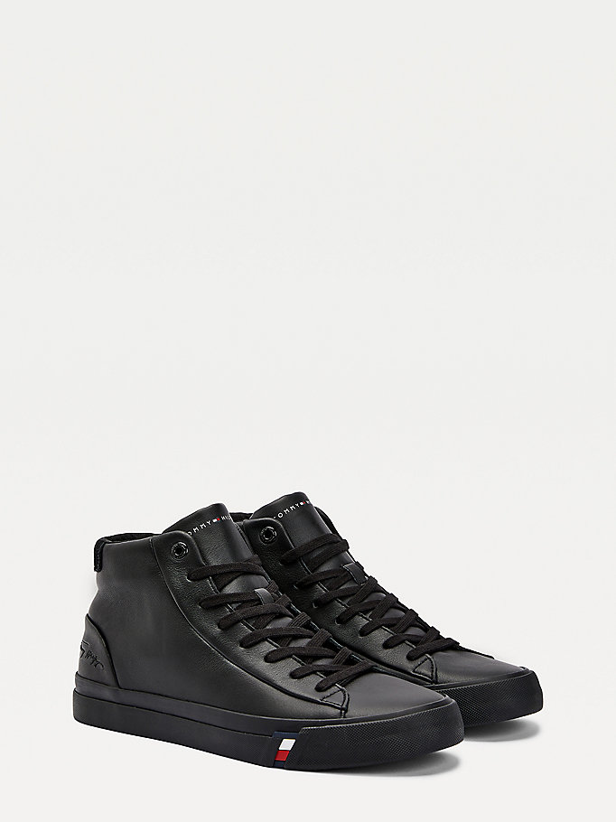 black signature embossed logo high-top trainers for men tommy hilfiger