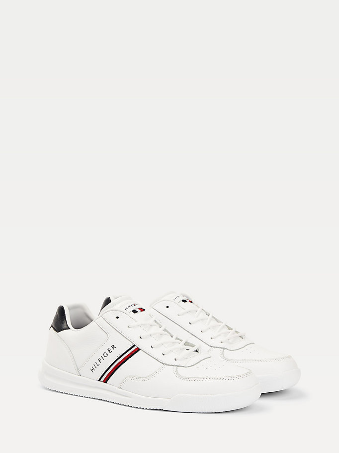 white lightweight low top trainers for men tommy hilfiger