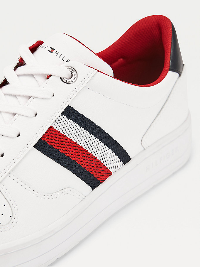 white leather mix cupsole trainers for men tommy hilfiger