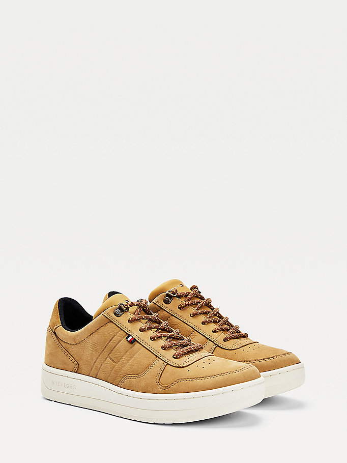 brown low top cupsole trainers for men tommy hilfiger