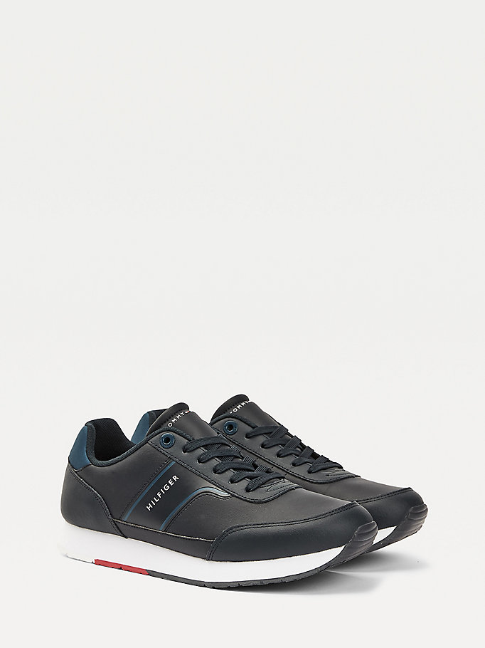 blue leather embossed logo trainers for men tommy hilfiger
