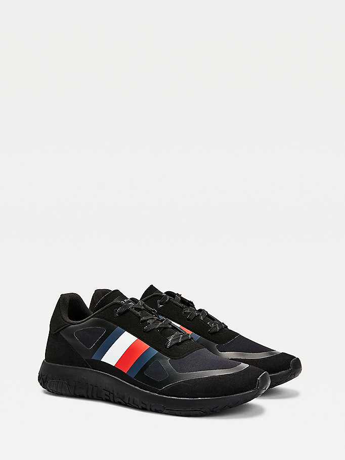 black lightweight mixed panel trainers for men tommy hilfiger