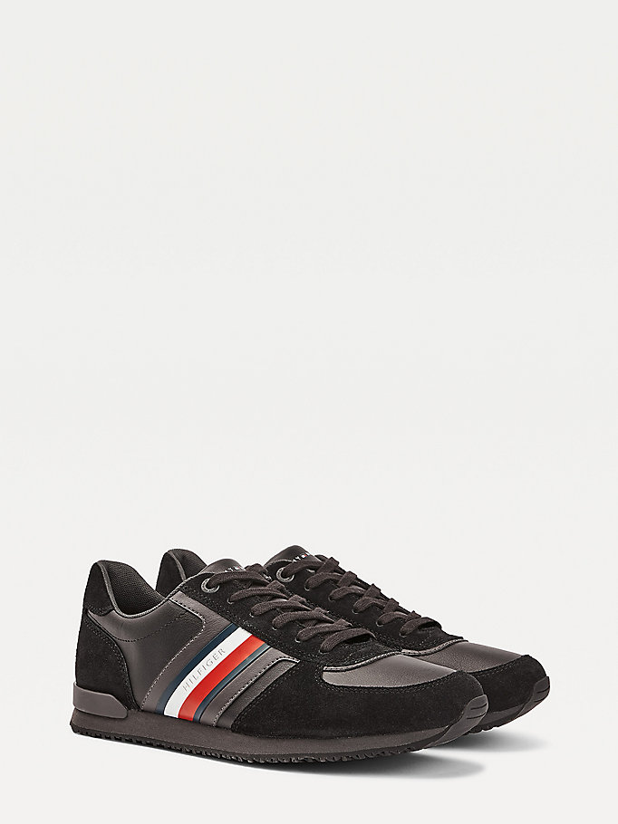 black iconic signature detailing mixed panel trainers for men tommy hilfiger