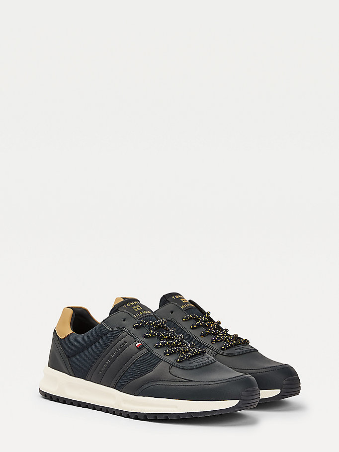 blue leather mix trainers for men tommy hilfiger