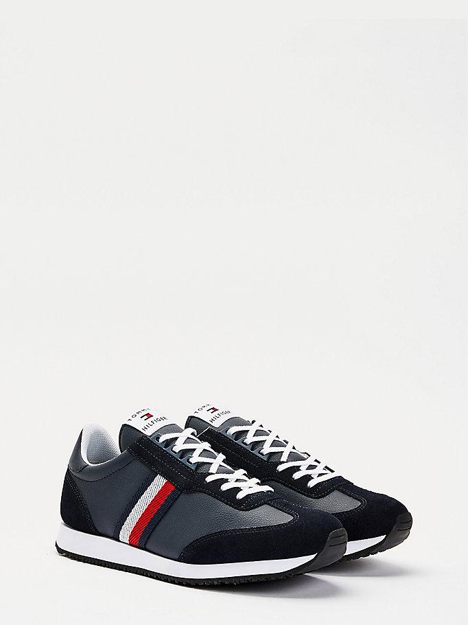 blue mixed panel low-top trainers for men tommy hilfiger