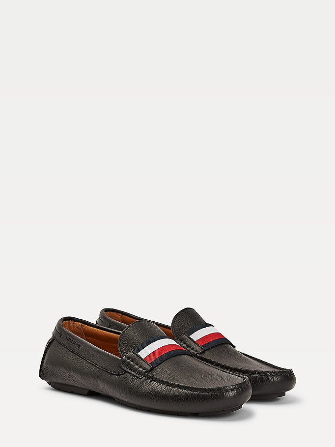 black signature tape leather mix boat shoes for men tommy hilfiger