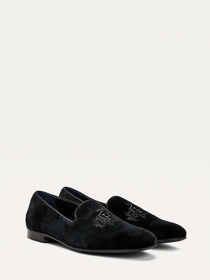 black crest embroidery velvet loafers for men tommy hilfiger