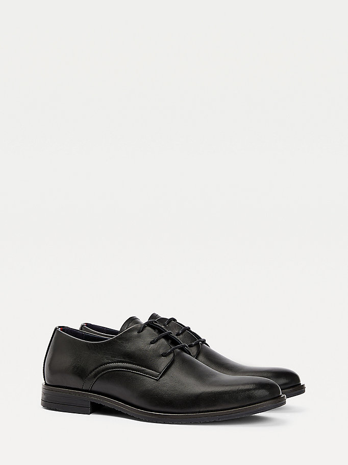 black leather lace-up shoes for men tommy hilfiger