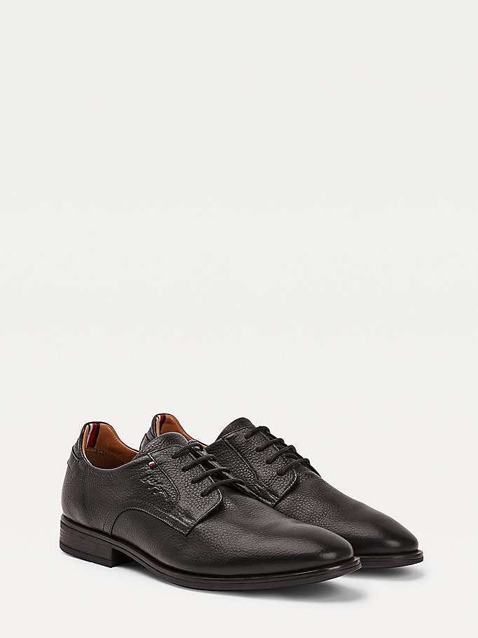 black technical comfort leather lace up shoes for men tommy hilfiger