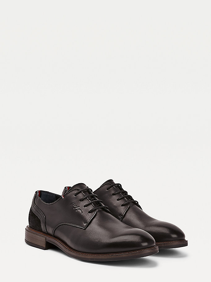 scarpe oxford elevated in pelle e camoscio nero da uomo tommy hilfiger