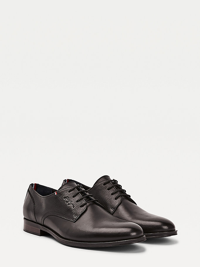 black leather embossed logo shoes for men tommy hilfiger