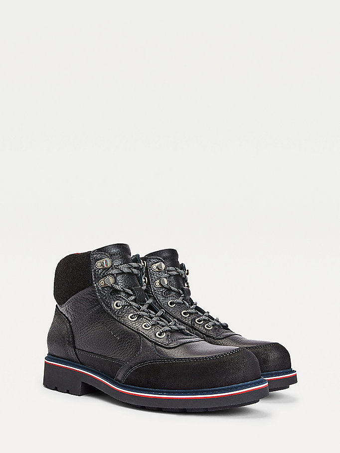 black warm lined lace up boots for men tommy hilfiger