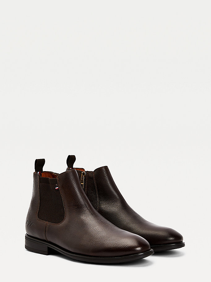 brown technical comfort leather chelsea boots for men tommy hilfiger