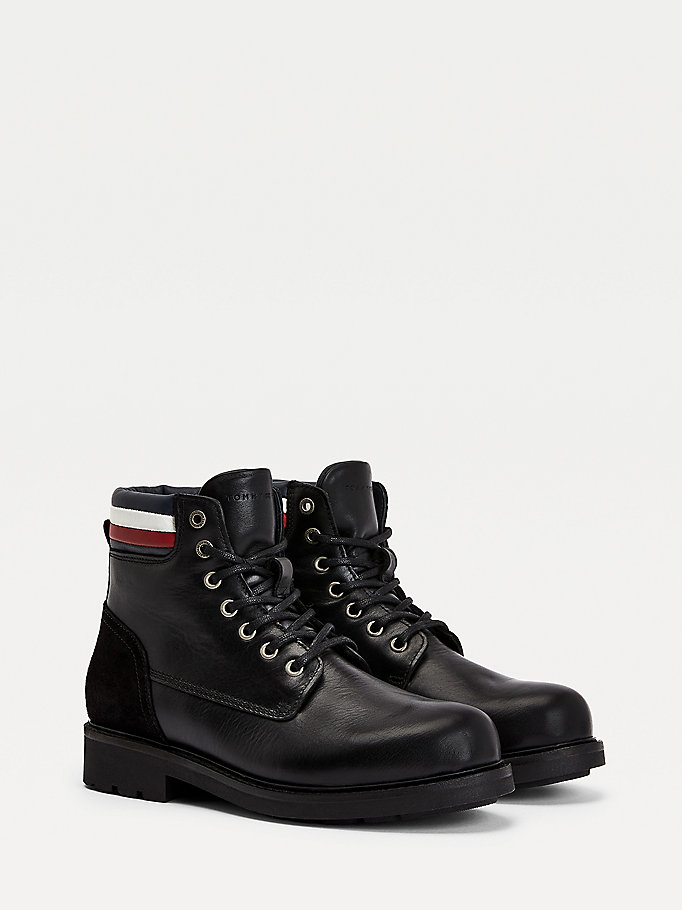 black signature waterproof warm lined boots for men tommy hilfiger
