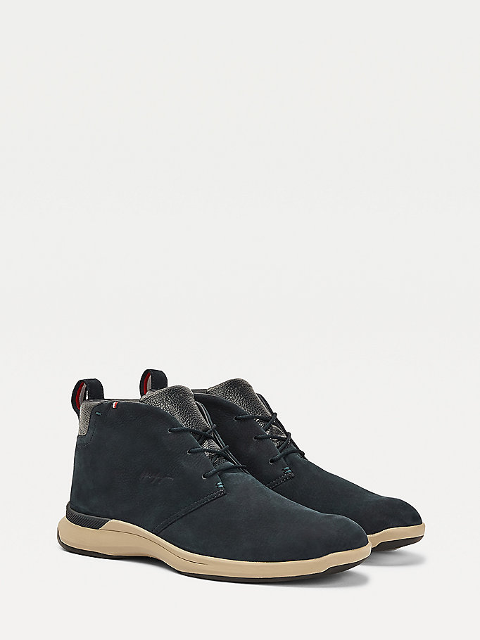 blue leather hybrid lace up boots for men tommy hilfiger