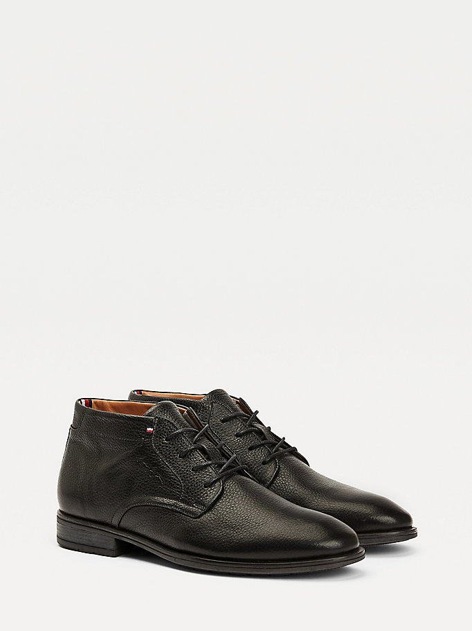 black leather lace up comfort boots for men tommy hilfiger