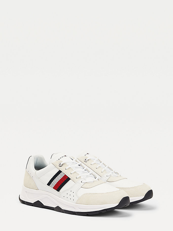 white chunky sole leather trainers for men tommy hilfiger