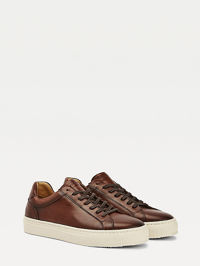brown premium leather cupsole cognac for men tommy hilfiger