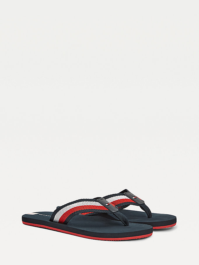 blue signature tape flip-flops for men tommy hilfiger