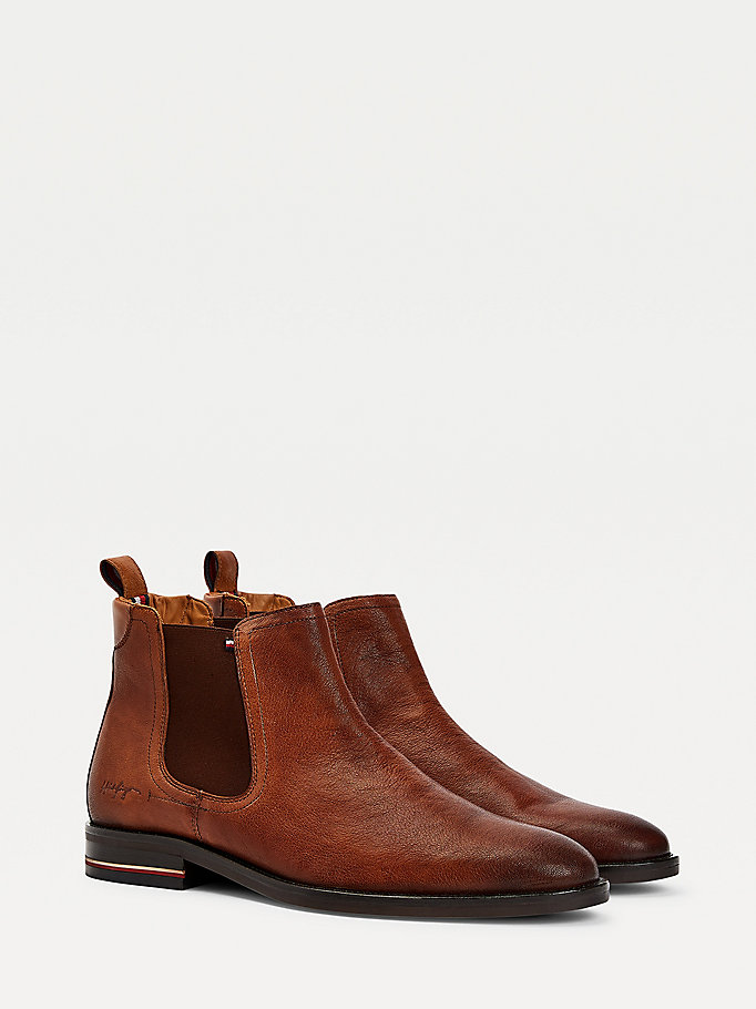 brown debossed signature chelsea boots for men tommy hilfiger
