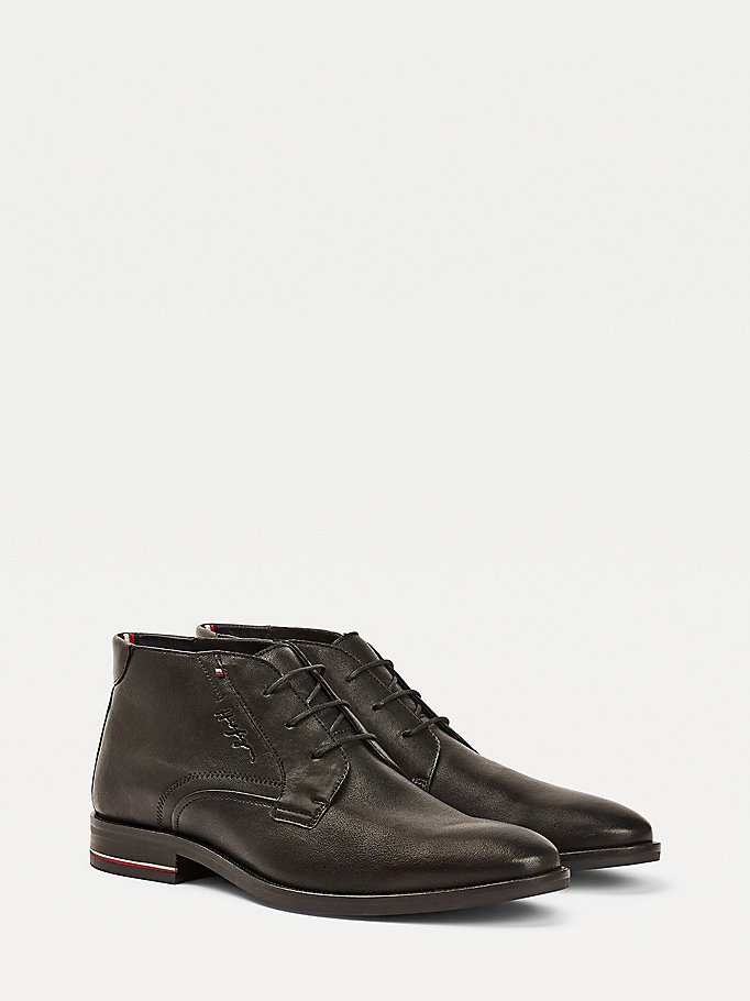 black signature logo smooth leather lace-up boots for men tommy hilfiger