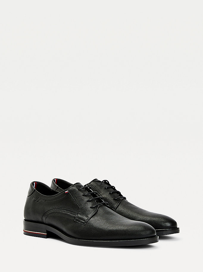 black signature logo lace up shoes for men tommy hilfiger