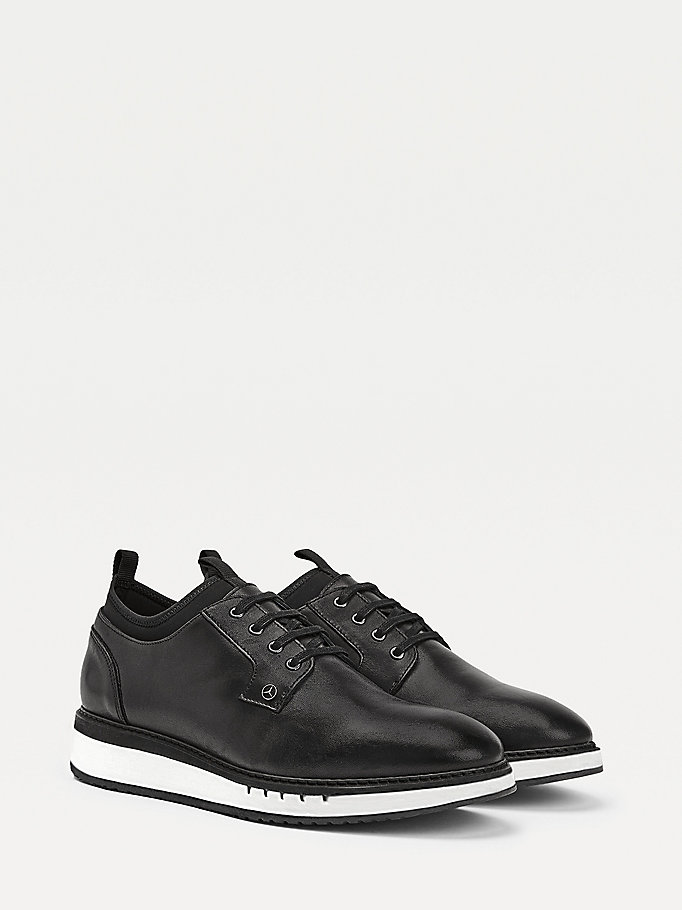 black mercedes-benz leather lace-up derby shoes for men tommy hilfiger